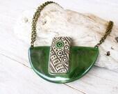 Ceramic statement necklace, Green clay pendant, Green ceramic necklace, Natural ceramic jewelry, Christmas jewelry, Trending jewelry