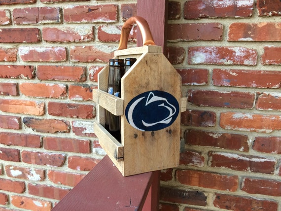 Penn State Wedding Gifts: Penn State Nittany Lions Inspired Rustic Beer Caddy Wood