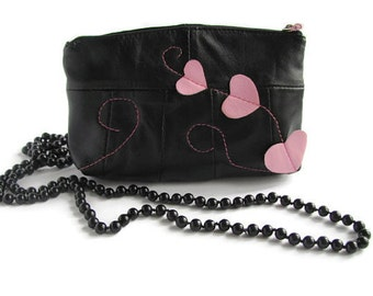 Valentines gift Black leather cosmetic bag Leather heart Purse Makeup case Cosmetic pouch Women gift Leather clutch Gift for her wife sister