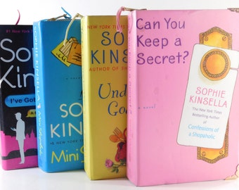 Book Clutch Sophie Kinsella - Can You Keep a Secreet? with Pink Gold Brass Jacket Zipper, Book Clutch, Book Purse, Book Bag