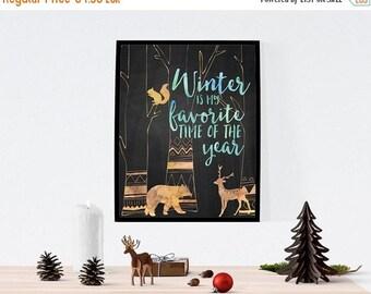 BIG SUMMER SALE - 45% off Winter Print, Deer Wall Art, Bear Print, Holiday Printable Decor, Printable Winter Decor, Seasonal Art Decor, Chri