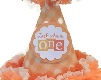 1st Birthday Orange Polka Dot Party Hat