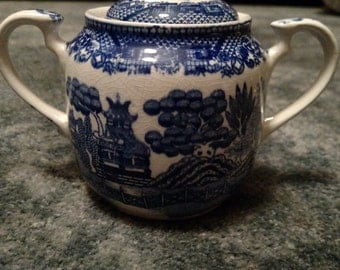 Vintage Blue Willow Lidded Sugar Dish Made in Japan