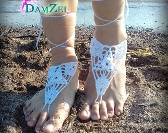 White Barefoot Sandal, Crocheted Anklet,  Purple Lace Barefoot Sandal, Wedding, Barefoot Anklet, Foot Jewelry