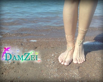 Gold Barefoot Sandal, Crocheted Anklet, Wedding Barefoot Sandal, Lace Barefoot Sandal, Barefoot Anklet, Foot Jewelry