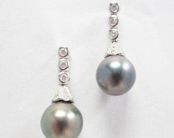 30% OFF Black Tahitian Pearl and Diamond, Dangle/Drop 14k White Gold Earrings