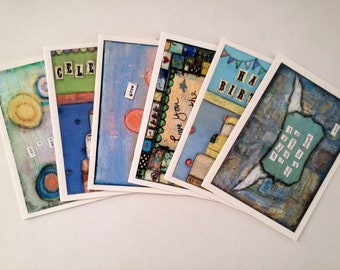 SALE!  Whimsical Art Cards Variety Pack, birthday cards, inspirational cards, love cards, whimsical mixed media, art cards, Set of 6