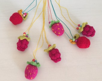 Strawberry necklace, Raspberry necklace, Apple necklace