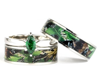 his and hers camo green marquis stainless steel and sterling silver wedding engagement ring set - Camouflage Wedding Ring Sets