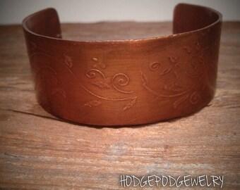 Copper Cuff Etched Bracelet Jewelry Handmade