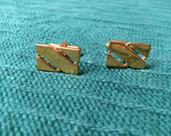 Vintage Goldtone Square Design Cuff Links, 3/4'' Long by 1/2'' Wide