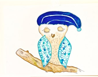 Cutest Owl, Decorated Owl. Female Owl, Sleeping owl, Highly Decorated Owlet, Illustrative Owl, Wall Bird Art, Home Decor Owl, Owls Art, Bird