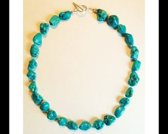 """One of a Kind Large 21"""" Genuine Teal Turquoise Nugget Sterling Silver Necklace!"""
