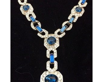 Vintage Ultimate Art Deco Sapphire & White Rhinestone Necklace