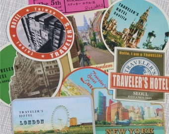 Traveller Stickers, Vintage Style Stickers, Cardmaking, Scrapbooking, Crafting, Luggage Stickers