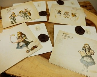 Alice in Wonderland Stationery, Party Supplies, Greetings Cards, Party Invite, Vintage Alice