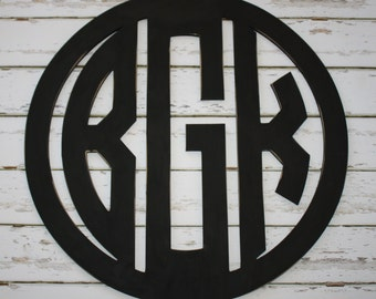Wood 3 Letter Circle Monogram-Hand Painted in your choice of color.  Bedroom Decor, Home Decor,Wedding Gift, Shower Gift, 3 letter monogram