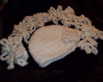 Soft and Thick Womens Handmade Crocheted Hat with Flower & Boa