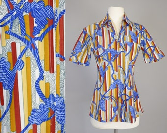 70s Sportswear Top // 1970s Vintage, Disco, Shirt, Loungewear, Hippie Costume, Blouse, Size Small