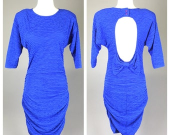 Vintage 1980s, Body Con Dress, Blue, Cut-Out Back // 80s Prom, Bow, Party Dress, Women Size Small