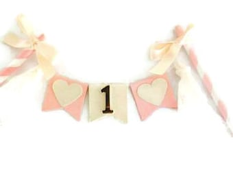 Vintage baby pink and cream, lace and bows customisable birthday cake bunting, first birthday, 1st birthday, cake banner, cake topper