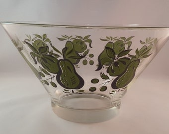 SALE - Mid Century Glass Bowl with Green Fruit Print