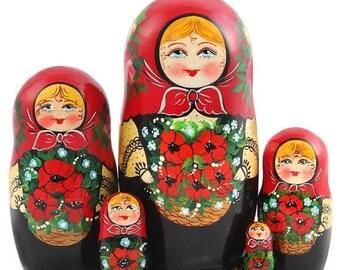 FLASH SALE 3 days 40% off Nesting Doll, Russian Matryoshka.  5.9'' 5 Ct.