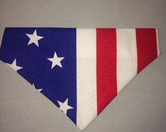 Handmade slip on dog bandana american stars and stripes