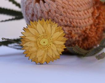 Flower Hair Clip-Flower Hairclip-Handpainted Flower Clip-Wood Hair Clip-Flower Barrette-Australian Wildflower-Yellow Paper Daisy