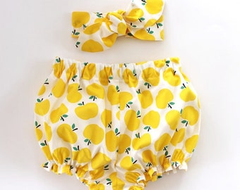 Baby Bloomers and Headband Set, baby girl headband, baby girl bloomers, yellow apples, bloomers set, baby bloomers