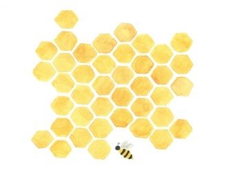 Original Printable painting  yellow honeycomb bee nursery kitchen wall art