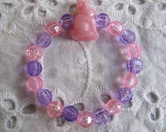 Pink Bunny Beaded Stretch Bracelet