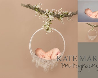 Whimsical Floral Branch Newborn Photography Digital Backdrop