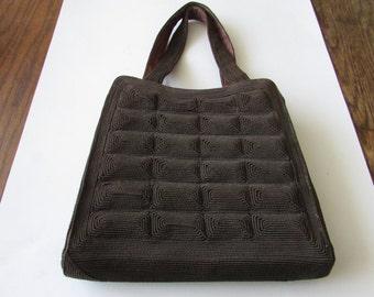 Vintage 40's Brown Corde Purse Handbag