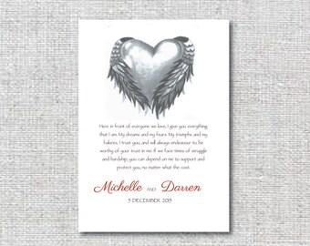 Wedding vows keepsake, printable wedding vows print.
