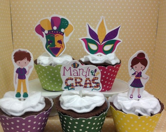 Mardi Gras Party Cupcake Topper Decorations - Set of 10