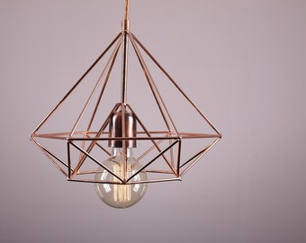Himmeli light Cage Diamond lamp industrial copper metal light handmade art geometric minimal shape copper textile cable