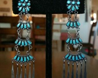 Zuni Petit-Point Turquoise and Silver Ladder Earrings