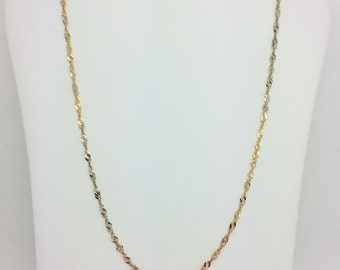 14K Tri-Color Twisted Chain