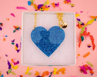 NicLove's acrylic heart necklace