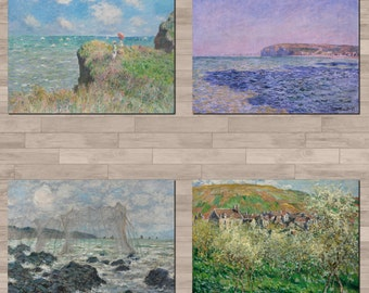 Set of 4 x Claude Monet poster prints, on A4 canvas-paper. Please see details.