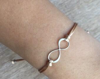 Infinity Bracelet, Sterling Silver Bracelet, Gold Waxed Cord Bracelet, Gift for her, Minimalist Bracelet, Friendship Bracelet  WB001308
