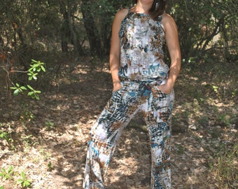 Jumpsuits & Rompers, Jumpsuits, Jumpsuit, Trapeze Women's clothing, Summer, Handmade, Stretch