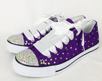 Glitter Bridal Shoes. Gems, Glitter Bridal Pumps, Plimsolls, Flats. Purple  And