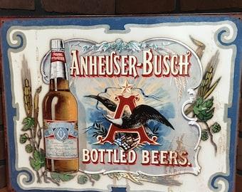 Anheuser Busch tin sign