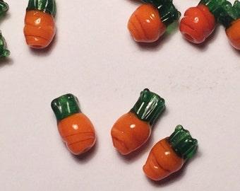 3 - Orange Carrots Lampwork Glass Beads - Vegetables - Rabbit Food - Bunny - Garden - 12 x 7mm