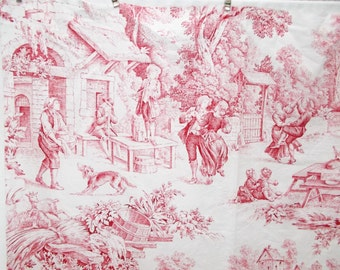 98cm of Vintage French Red and White //  Toile de Jouy  \\ Cotton Fabric 1950's  (4322s)