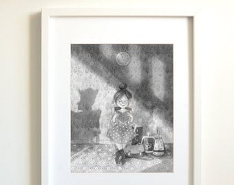 Reading book | reading | book | book lover | black and white | art print giclee | poster | wall decor | Illustration |