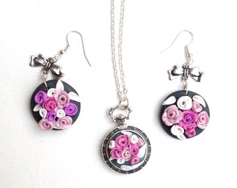 adornment flowery, roses, floral pendant, Pocket Watch
