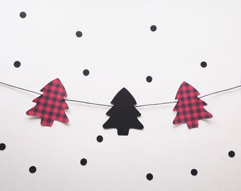 Buffalo plaid tree garland - paper garland - lumberjack party decor - Christmas Decor - Mantel banner - Holiday - Christmas tree -photo prop